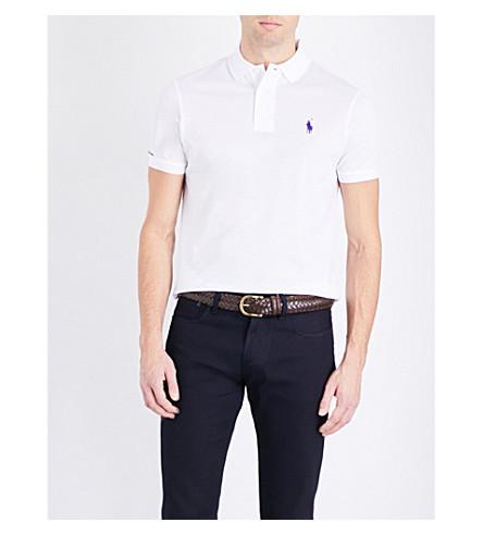 RALPH LAUREN PURPLE LABEL 定做的棉何塞普·皮克马球衫 (经典 + 白色