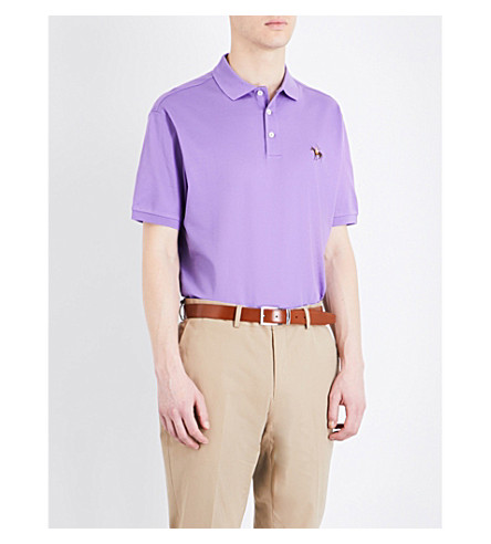 RALPH LAUREN PURPLE LABEL Regular-fit cotton-piqué polo shirt (Classic+lavende