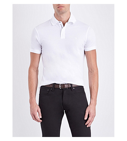 RALPH LAUREN PURPLE LABEL Slim-fit cotton-piqué polo shirt (Classic+white