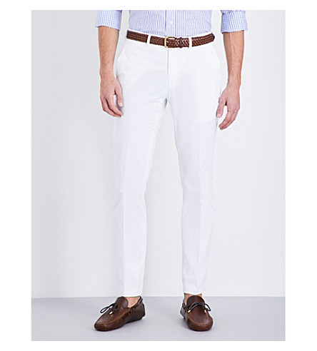 RALPH LAUREN PURPLE LABEL Knightsbridge slim-fit tapered stretch-cotton trousers (White