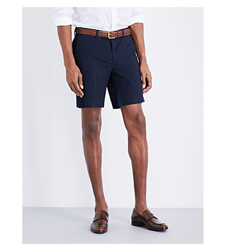 RALPH LAUREN PURPLE LABEL Knightsbridge straight-fit stretch-cotton shorts (Navy