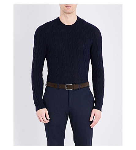 RALPH LAUREN PURPLE LABEL Cable-knit pure cashemere jumper (Classic+chairma