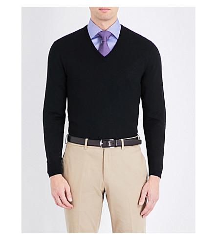 RALPH LAUREN PURPLE LABEL Fine-knit cashmere jumper (Black