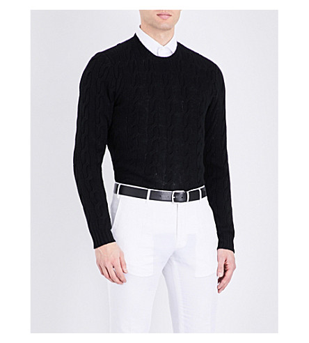 RALPH LAUREN PURPLE LABEL Cable-knit cashmere jumper (Classic+black