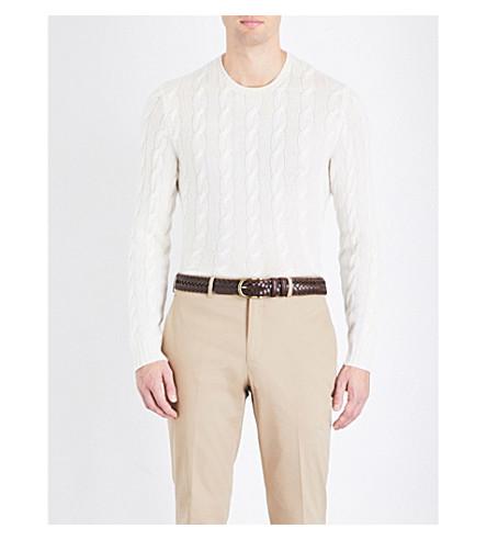 RALPH LAUREN PURPLE LABEL Cable-knit cashmere sweater (Classic+crm