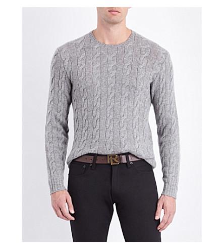 RALPH LAUREN PURPLE LABEL Cable-knit cashmere jumper (Classic+light+g