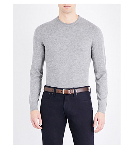 RALPH LAUREN PURPLE LABEL Crewneck knitted cashmere jumper (Classic+light+g