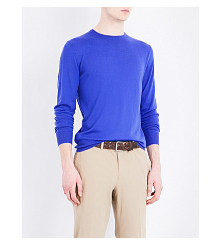 RALPH LAUREN PURPLE LABEL Crewneck cashmere jumper (Open+blue