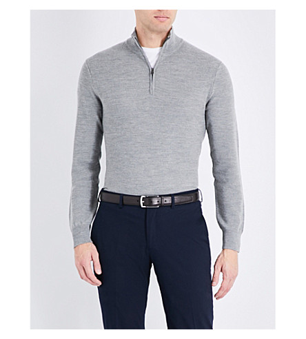 RALPH LAUREN PURPLE LABEL Half-zip wool and cashmere-blend sweater (Grey