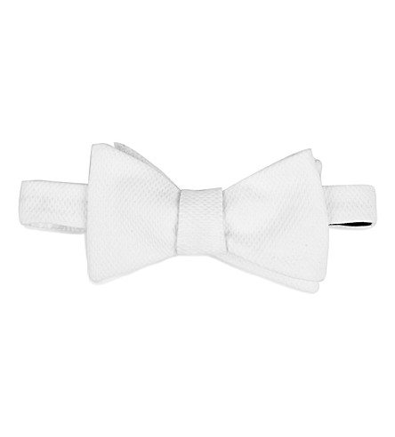 RALPH LAUREN PURPLE LABEL Textured silk-twill bow tie (White