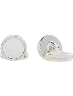 ERMENEGILDO ZEGNA Mother of pearl concave cufflinks