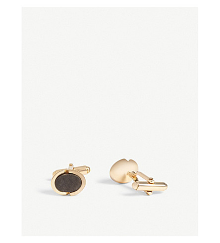 LANVIN Circle onyx stone cufflinks (Gold