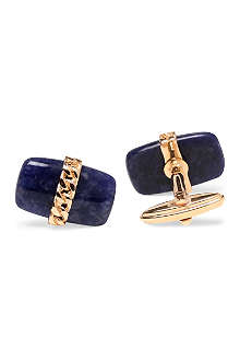 LANVIN Sodalite stone and chain cufflinks