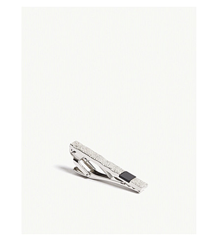 LANVIN Textured metal tiebar (Rhodium