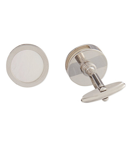 LANVIN Interchangeable mother of pearl & onyx cufflinks (Silver