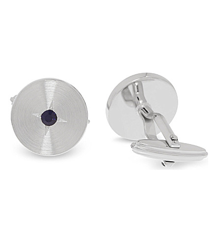 LANVIN Round crystal cufflinks (Silver