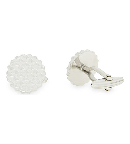 LANVIN Round-cut textured cufflinks (Silver