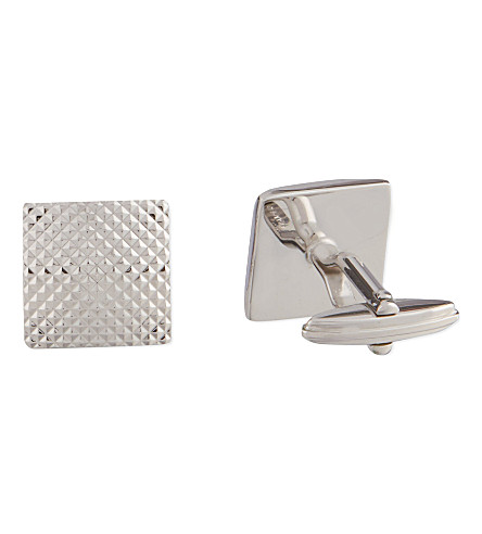 LANVIN Textured square cufflinks (Silver