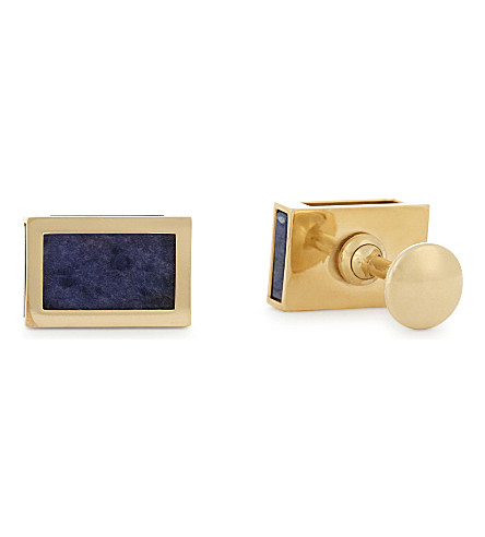 LANVIN Interchangeable onyx cufflinks (Gold+blue