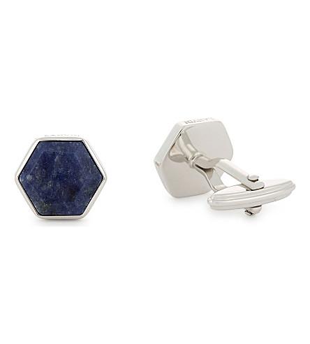 LANVIN Hexagon silver-plated cufflinks (Blue