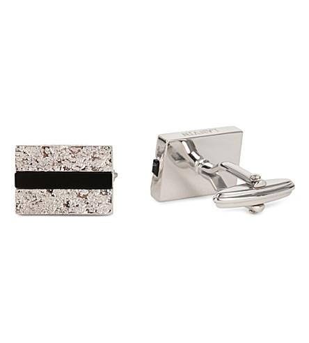 LANVIN Foil square cufflinks (Silver+onyx
