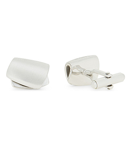 LANVIN Curved oscillating cufflinks (Rhodium