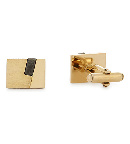 LANVIN Mini stone split cufflinks (Gold