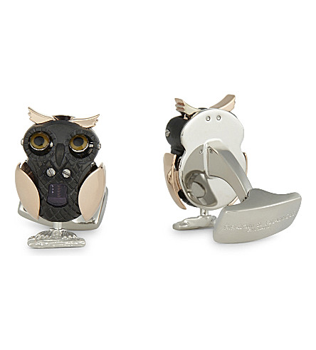 DEAKIN AND FRANCIS Moving owl cufflinks (Rose+gold
