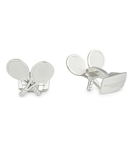 DEAKIN AND FRANCIS Tennis racket cufflinks (White+rhodium