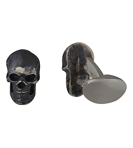 DEAKIN AND FRANCIS Sterling silver skull cufflinks (Silver