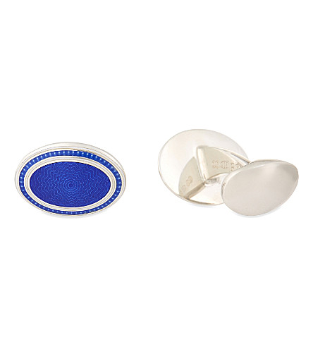 DEAKIN AND FRANCIS Sterling silver oval cufflinks (Blue