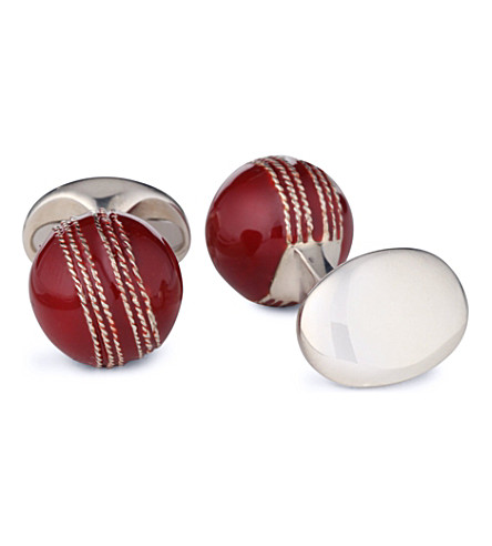 DEAKIN AND FRANCIS Cricket Ball cufflinks (Red+brown