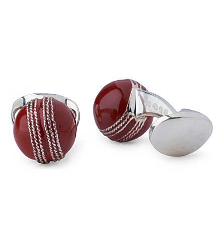 DEAKIN AND FRANCIS Cricket Ball cufflinks (Red
