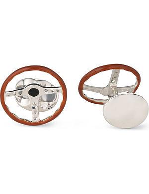 DEAKIN AND FRANCIS Sterling silver vintage steering wheel cufflinks