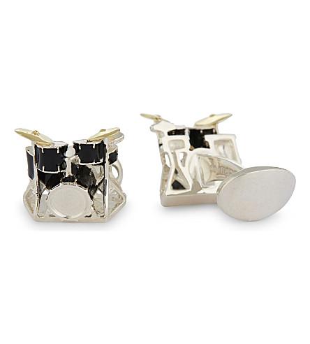 DEAKIN AND FRANCIS Drum kit sterling silver cufflinks (Black