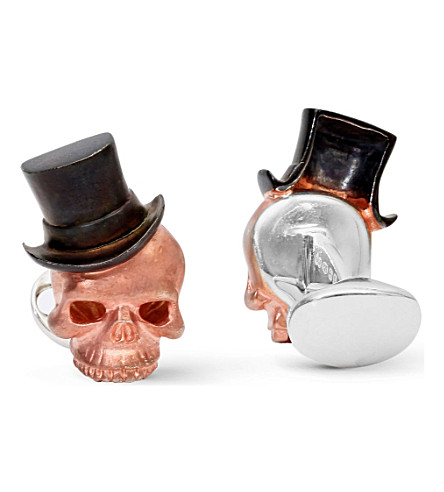 DEAKIN AND FRANCIS Skull and top hat rose gold-plated cufflinks (Rosegold