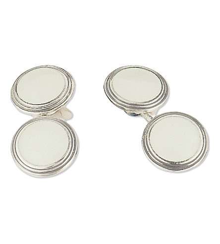 DEAKIN AND FRANCIS Vintage Collection round cufflinks (Clear