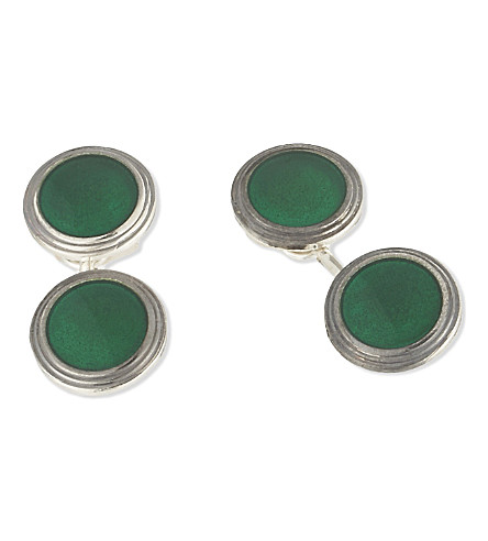 DEAKIN AND FRANCIS Vintage Collection round cufflinks (Green