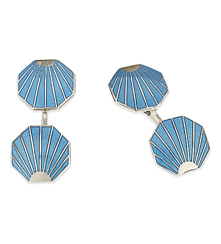 DEAKIN AND FRANCIS Vintage Collection shell cufflinks (Brt+blue