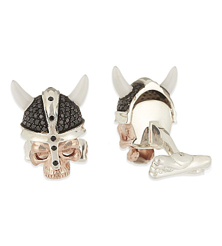 DEAKIN AND FRANCIS Viking skull cufflinks (Rose+gold