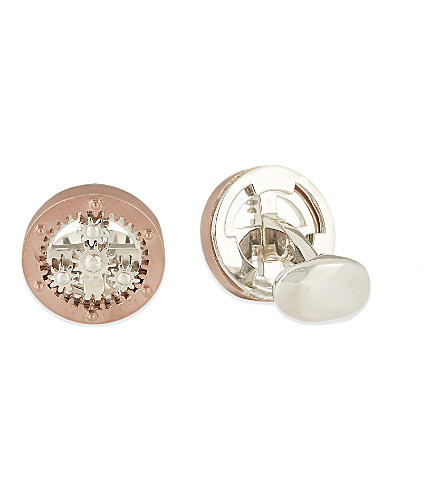 DEAKIN AND FRANCIS Cog wheel cufflinks (Rose+gold