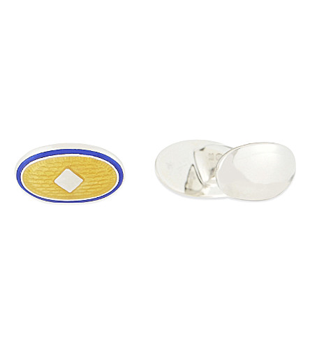 DEAKIN AND FRANCIS Diamond enamel silver cufflinks (Gold