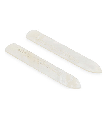 ERMENEGILDO ZEGNA Herringbone Mother of Pearl collar stays (Silver