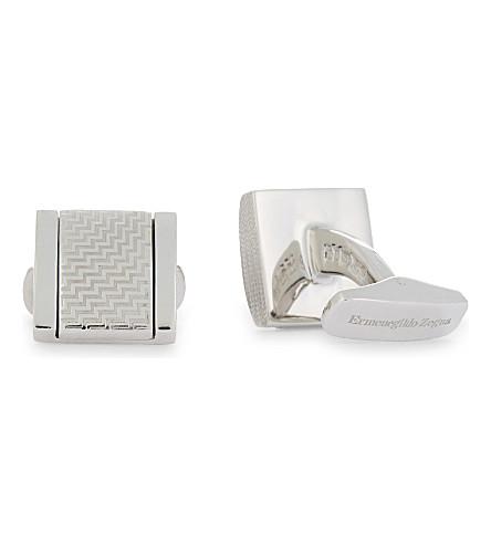 ERMENEGILDO ZEGNA Zigzag square sterling silver cufflinks (Silver