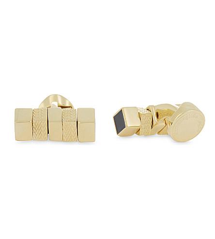 ERMENEGILDO ZEGNA Herringbone square-cylinder cufflinks (Gold