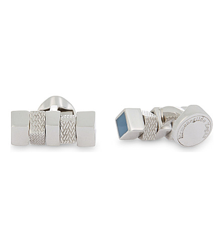 ERMENEGILDO ZEGNA Herrinbone square-cylinder cufflinks (Silver