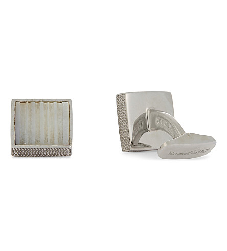 ERMENEGILDO ZEGNA Linear square Mother of Pearl sterling silver cufflinks (White+mop