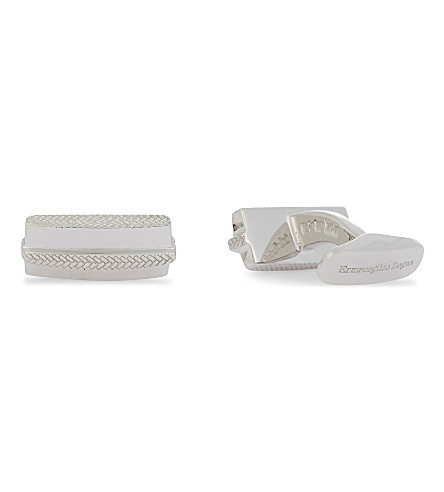 ERMENEGILDO ZEGNA Herringbone stripe rectangular sterling silver cufflinks (Silver