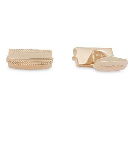 ERMENEGILDO ZEGNA Herringbone stripe sterling silver cufflinks (Rose+gold