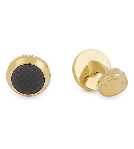ERMENEGILDO ZEGNA Round carbon-fibre cufflinks (Gold